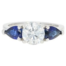 Diamond & Sapphire Engagement Ring - Platinum Size 4 Round Cut 2.01ctw