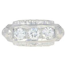 Retro Three-Stone Diamond Ring - Platinum Vintage Round Cut .78ctw