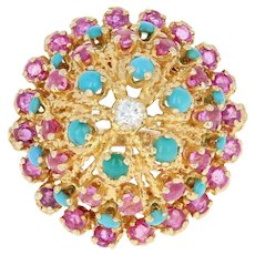 Diamond, Turquoise, & Ruby Dome Cocktail Ring - 18k Gold Round Brilliant 3.25ctw