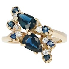 Sapphire & Diamond Bypass Ring - 14k Yellow Gold Size 6 Pear Brilliant 1.97ctw