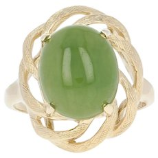 Nephrite Jade Solitaire Ring - 14k Yellow Gold Oval Cabochon Size 6 3/4