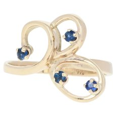Sapphire Twirl Ring - 14k Yellow Gold Round Brilliant .20ctw