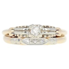 Joined Diamond Engagement Ring & Wedding Band - 14k Gold Vintage Old Mine .13ctw