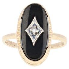 Vintage Onyx Ring - 10k Yellow Gold Diamond Accent Milgrain Size 5