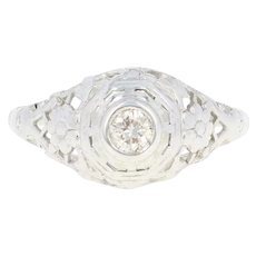 Art Deco Diamond Solitaire Ring - 14k Gold Vintage Filigree European .21ct