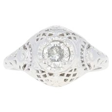 Art Deco Diamond Solitaire Ring -14k White Gold Vintage Filigree Round Cut .48ct