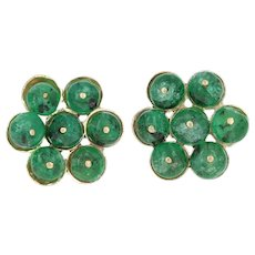 Emerald Bead Earrings - 18k Yellow Gold Floral Cluster Pierced