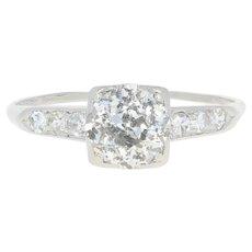 Art Deco Diamond Engagement Ring - 900 Platinum European Cut 1.46ctw