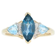 Blue Topaz & Diamond Ring - 10k Yellow Gold London Blue Marquise 1.62ctw