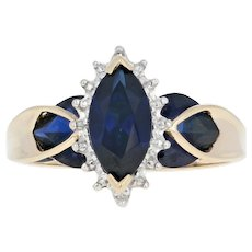 Synthetic Sapphire Halo Ring - 10k Yellow Gold Diamond Accents 3.30ctw