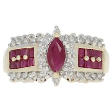 Ruby & Diamond Halo Ring - 10k Yellow Gold Marquise 1.08ctw