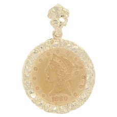 1880 United States Liberty Head $5 Gold Coin Pendant - 14k & 900 Gold Nugget