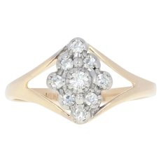 Diamond Cluster Halo Ring - 14k Yellow Gold Round Brilliant .16ctw