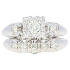 Vintage Diamond Engagement Ring & Wedding Band - 14k White Gold Round Cut .35ctw