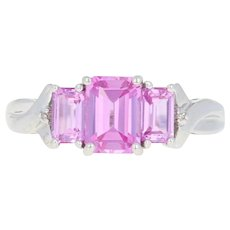 Synthetic Pink Sapphire Ring - 10k White Gold Diamond Accents 2.10ctw