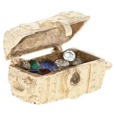 Treasure Chest Charm - 14k Yellow Gold Rhinestones & Synthetic Stones Opens