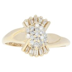 Diamond Cluster Ring - 10k Yellow Gold Round Brilliant .27ctw