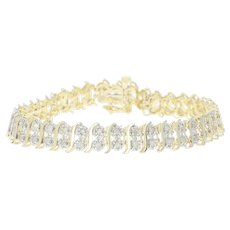"Diamond Tennis Bracelet 7"" - 10k Yellow Gold Round Brilliant 1.50ctw"