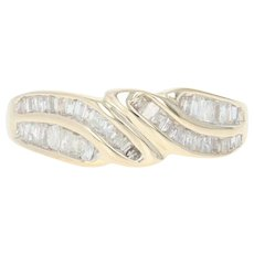Diamond Bypass Ring - 10k Yellow Gold Size 7 Baguette .39ctw