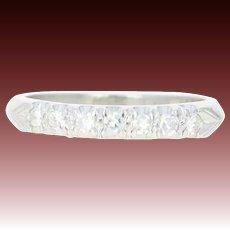 Vintage Diamond Wedding Band - Platinum Knife Edge Ring Size 4 Single Cut .14ctw