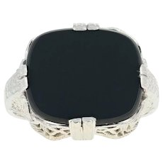 Art Deco Onyx Ring - 14k White Gold Vintage Filigree Milgrain Size 4 3/4