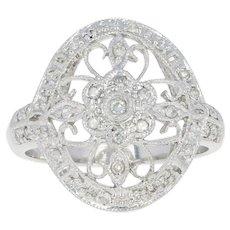 Diamond Floral Filigree Cocktail Ring - 10k White Gold Open Cut Millgrain .12ctw