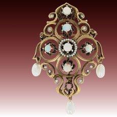 Victorian Revival Opal, Pearl, & Diamond Brooch / Pendant - 14k Gold .10ctw