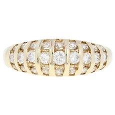 Diamond Striped Dome Ring - 14k Yellow Gold Round Brilliant .75ctw