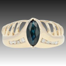 Sapphire & Diamond Ring - 14k Yellow Gold Marquise 1.04ctw