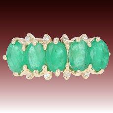 Emerald & Diamond Ring - 14k Gold Five-Stone w/ Accents Oval Brilliant 2.54ctw
