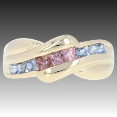 Pink & Blue Sapphire Bypass Ring - 14k Yellow Gold Princess Brilliant .70ctw