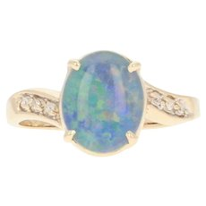 Opal Triplet Bypass Ring - 14k Yellow Gold Diamond Accents Size 6