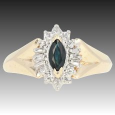 Sapphire Illusion Halo Ring - 10k Gold Marquise Knife-Edge Diamond Accent .35ct