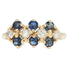 Sapphire & Diamond Ring - 14k Yellow Gold Size 4 3/4 Round Cut .96ctw