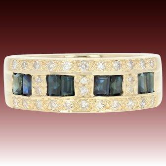 Sapphire & Diamond Band Ring - 14k Yellow Gold Size 6 1/2 Women's 1.45ctw