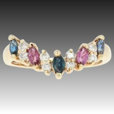 Sapphire, Ruby, & Diamond Ring - 14k Yellow Gold V-Shaped Marquise .79ctw