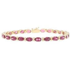 "12.50ctw Oval Brilliant Rhodolite Garnet Bracelet 7 1/4"" -14k Yellow Gold Tennis"