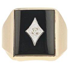 Onyx & Diamond Ring - 10k Yellow Gold Men's Size 6 1/2