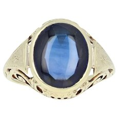 Vintage Synthetic Sapphire Ring - 14k Yellow Gold Solitaire 6.00ct