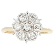 Diamond Cluster Ring - 10k Yellow Gold Size 6 3/4 Round Cut .40ctw