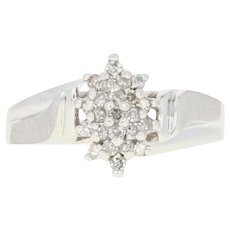 Diamond Cluster Bypass Ring - 10k White Gold Size 7 1/4 Single Cut .25ctw