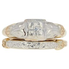 Art Deco Diamond Engagement Ring & Wedding Band - 14k Yellow Gold Vintage