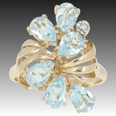 Diamond & Blue Topaz Cluster Cocktail Ring - 10k Yellow Gold Pear-shaped 3.02ctw