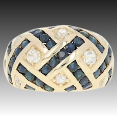 Sapphire & Diamond Braided Dome Ring - 10k Yellow Gold Channel Set 3.78ctw