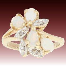 Opal & Diamond Cluster Ring - 14k Gold Pear-shaped Millgrain .52ctw