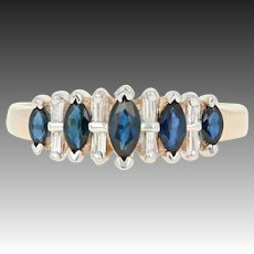Sapphire & Diamond Anniversary Ring - 14k Yellow Gold Marquise Baguette 1.21ctw
