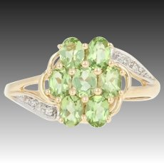 Peridot Floral Cluster Bypass Ring - 14k Gold Diamond Accent Oval Brilliant 1ctw
