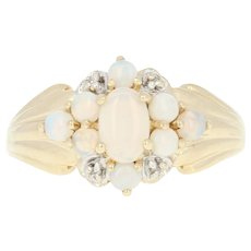 Opal Ring - 10k Yellow Gold Diamond Accents Size 7 Cabochon .78ctw