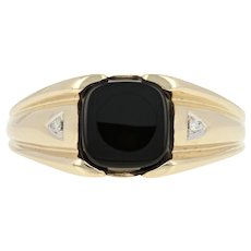 Men's Onyx Ring with Diamond Accents - 10k Yellow Gold Half-Round Edge Size 13.5