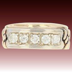 Men's Diamond Wedding Band - 10k Yellow Gold Ring Nugget Texture .60ctw